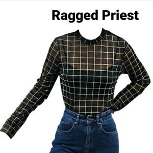 Ragged Priest Lime Green Mesh Top sz L